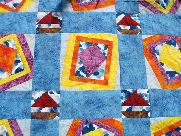 Windblown quilt top center