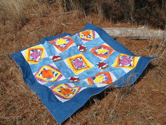Windblown quilt at park