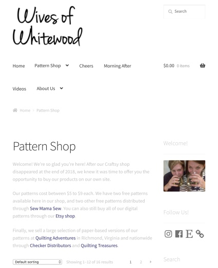 Screenshot of Wives of Whitewood's new pattern shop